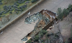 The California department of water resources has suspended flows from the Oroville dam spillway after a concrete section eroded.