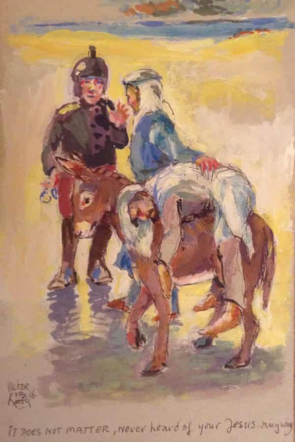 A painting by Victor van Kooten in response to the way people arriving on the island have been treated.