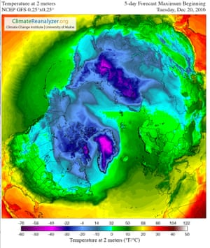 The five-day forecast maximum temperatures over the Arctic from Tuesday 20 December 2016.