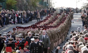 Soldiers parade before the start of Sunderland's Remembrance service