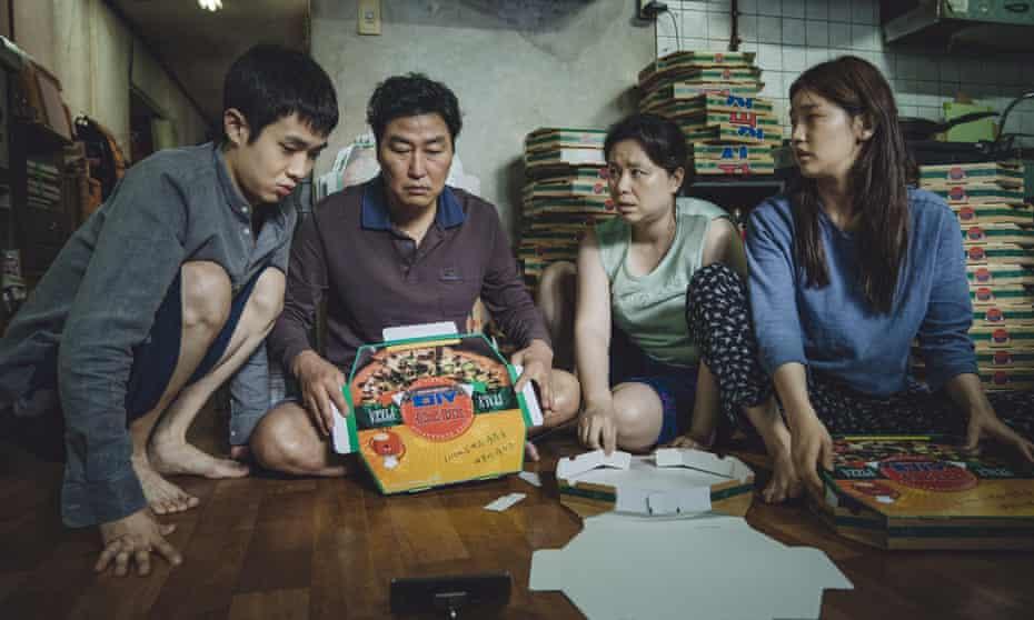 Choi Woo-sik, Song Kang-ho, Jang Hye-jin and Park So-dam as the Kims in Parasite