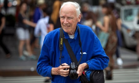 Bill Cunningham in 2014. 'It's important to be almost invisible,' he said, 'to catch people when they're oblivious to the camera – to get the intensity of their speech, the gestures of their hands.'