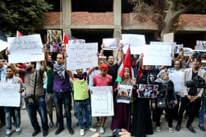 Egyptians stage a protest at the Palestinian embassy in Cairo in support of the Palestinians, October 2015.