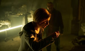 Jodie Whittaker as Doctor Who and Bradley Walsh as Graham.