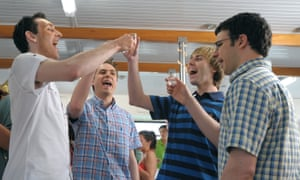 Blake Harrison, far left, with Joe Thomas, James Buckley and Simon Bird in The Inbetweeners Movie (2011).