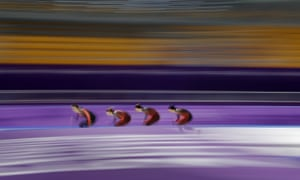 Team Canada in the finals of the men's team pursuit Speed Skating race.