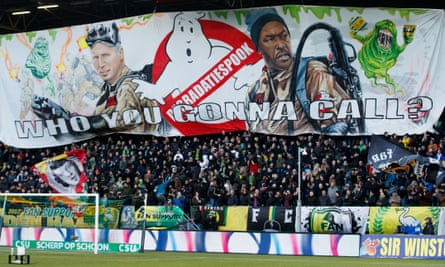 Den Haag fans unfurl a Ghostbusters-themed banner at Pardew and Powell's first match.