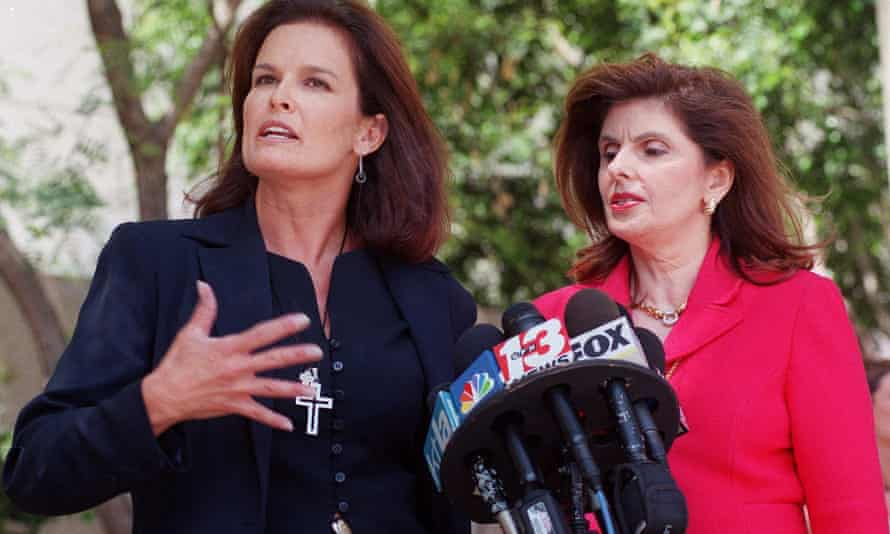 Denise Brown, with Gloria Allred, speaking at a news conference