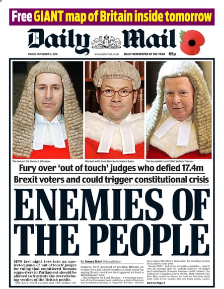 Daily Mail front page Enemies of the People headline.
