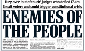 Section of the Daily Mail front page, 4 November 2016.