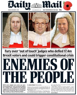 The Daily Mail's front page on 4 November 2016 under Dacre's editorship
