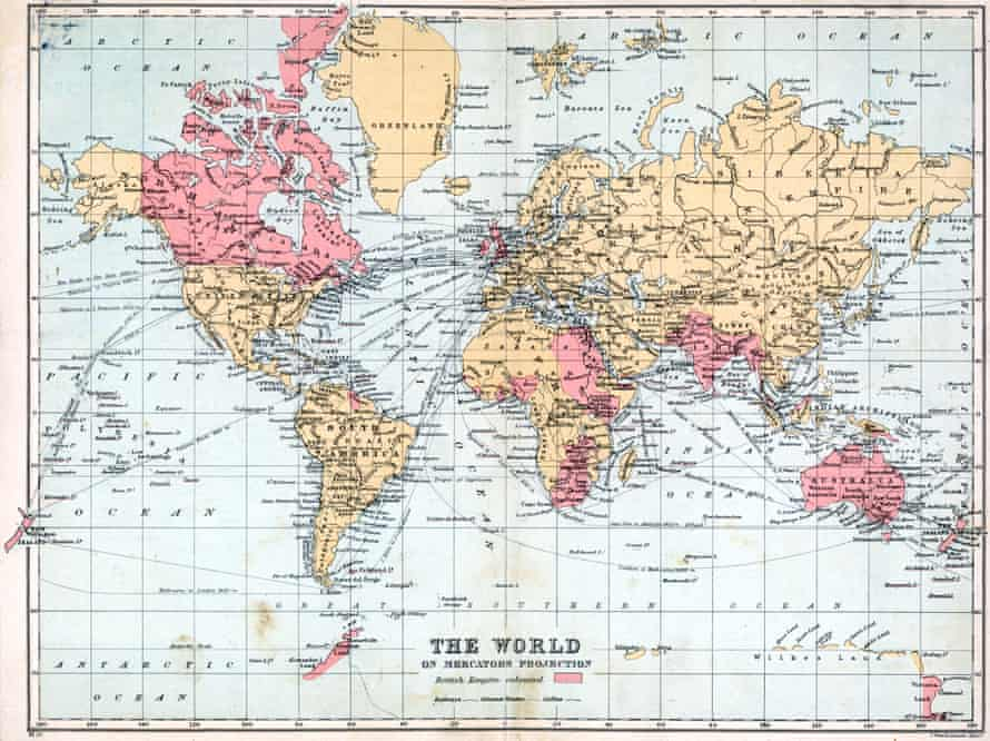 A Mercators projection map of the world c1900, showing British territories in pink.