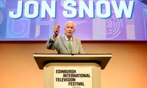 Jon Snow delivering the Edinburgh television festival lecture