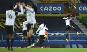Fulham's Josh Maja (right) celebrates scoring.