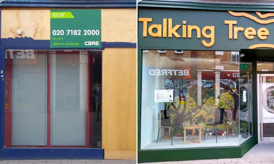 Before and after: the Talking Tree climate emergency centre in a former William Hill betting shop in Staines, Surrey