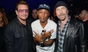 Innovators … Pharrell Williams with U2's Bono and The Edge at the iHeartRadio Music awards