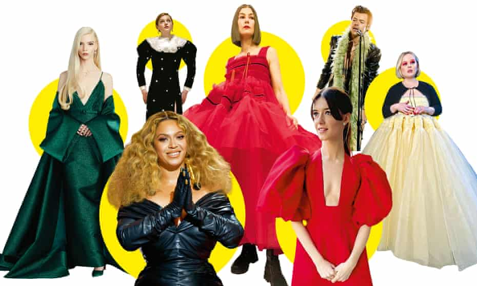 Clockwise from left: Anya Taylor-Joy; Emma Corrin; Rosamund Pike; Harry Styles; Nicola Coughlan; Daisy Edgar-Jones; Beyoncé.