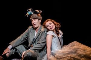 Vito Priante as Papageno and Elsa Dreisig as Pamina in Die Zauberflöte at the Royal Opera House.