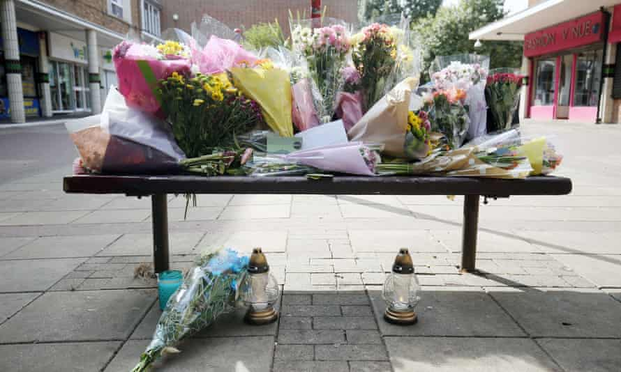Flowers are left at The Stow in Harlow.