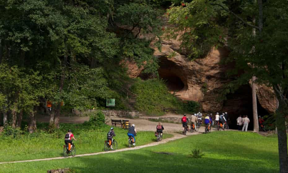 Cyclists in the Gauja national park