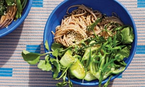 Cold soba with cucumber, watercress and sesame.