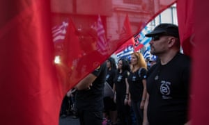 Supporters of the far-right Golden Dawn party at an election rally ahead of Sunday's election.