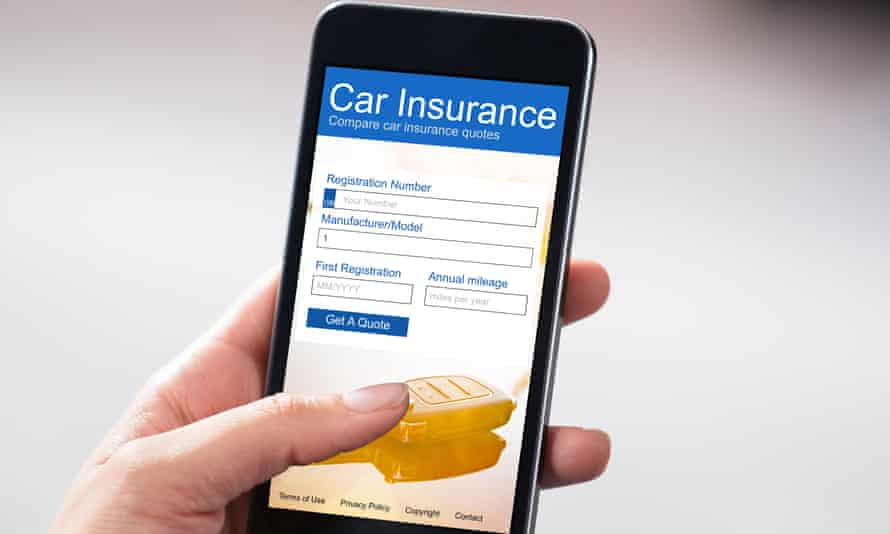 Someone looking at car insurance on a phone