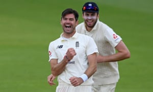 James Anderson celebrates having taken the wicket of Pakistan's Abid Ali, his 599th wicket in Test cricket.