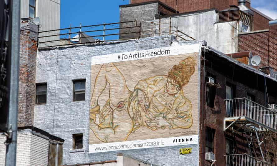 A handpainted mural of a work by Egon Schiele in New York.