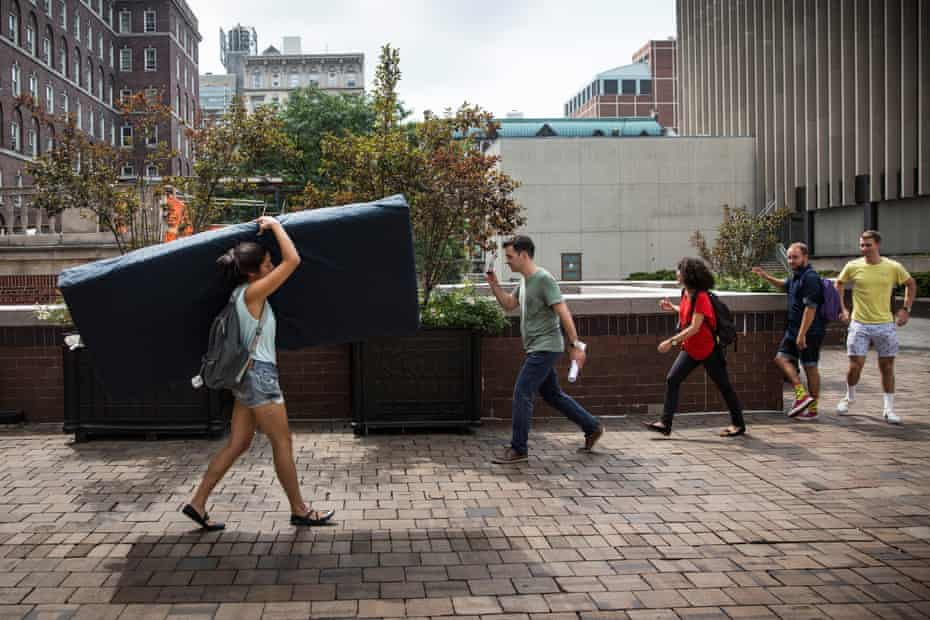 Emma Sulkowicz, a student at Columbia University who, in 2014, carried a mattress as a protest against the lack of action after they reported being raped.