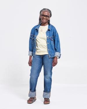 Lynne Richards, retired teacher, wears jacket,  £85, and jeans, £95, both levi.com. Top, £25, oliverbonas.com. Sandals, £60, birkenstock.com. Necklace, £35, suhaiylashakuwra.com. Watch, £315, kronaby.com.