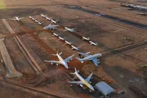 Grounded aeroplanes which include Airbus A380s, Boeing MAX 8s and other smaller aircrafts are seen at the Asia Pacific Aircraft Storage facility on May 15, 2020 in Alice Springs, Australia.