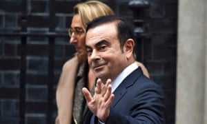 The then CEO of Nissan, Carlos Ghosn, leaves 10 Downing Street after meeting Theresa May to seek Brexit assurances in 2016.