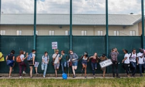 Protesters gathered on Saturday at Yarl's Wood immigration removal centre to demand its closure.