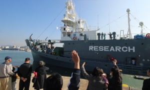 A Japanese whaling ship leaves the port of Shimonoseki in Japan on 1 December to resume whale hunting in the Antarctic.