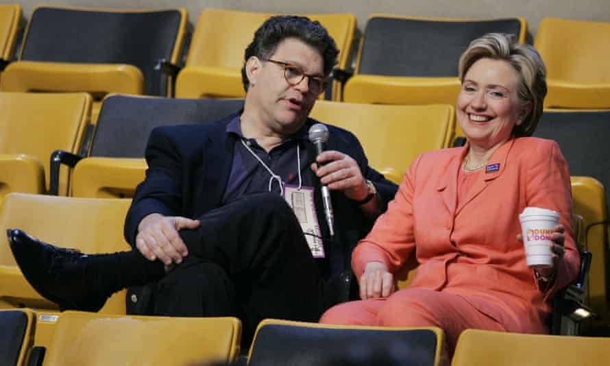 Hillary Clinton speaks with Al Franken at Democratic National Convention in Boston on 29 July 2004.