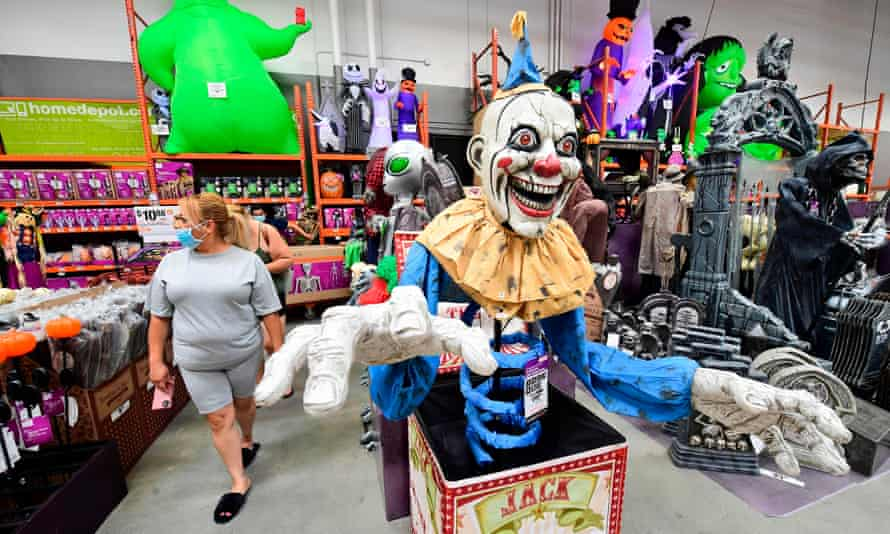 People shop for Halloween items at a home improvement store in Alhambra, California.