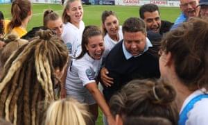 London City Lionesses hold a post-match huddle.