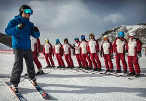 A Canadian ski instructor teaches Chinese ski instructors at the newly built Thaiwoo Ski Resort, which will host events at the 2022 Olympics.