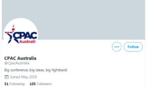Screenshot of CPAC Australia Twitter account