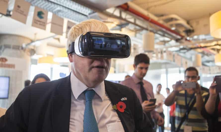 Boris Johnson wearing a Samsung Gear VR headset