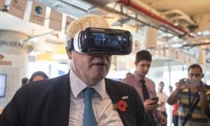 Boris Johnson tries out virtual reality goggles