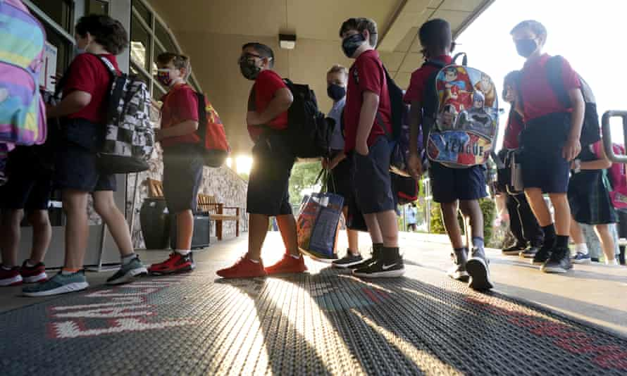 Students wear masks at an elementary school in Richardson, Texas Tuesday.