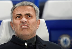 Chelsea's manager José Mourinho pulls a face watching his Chelsea beat Porto 2-0 to advance to the knockout phase.
