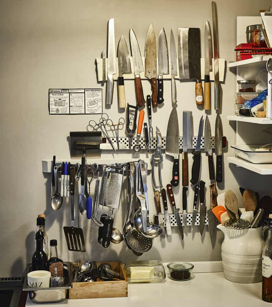 Sharp practice: the wall of Tim Hayward's kitchen is covered in knives.