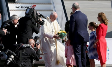 The pope being greeted at Dublin airport on Saturday