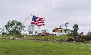 Damage after a tornado devastated the area of Linwood, Kansas.