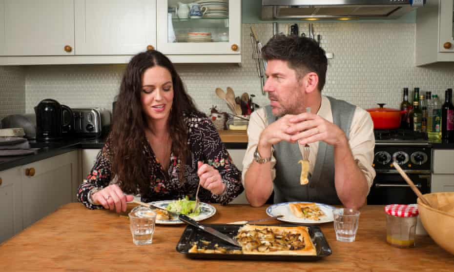 Russell Norman and his wife, Jules, eat her taleggio, onion and thyme tart.