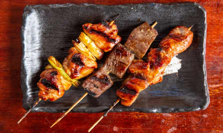 'Smoky and seared in all the right places': beef, pork and chicken skewers.