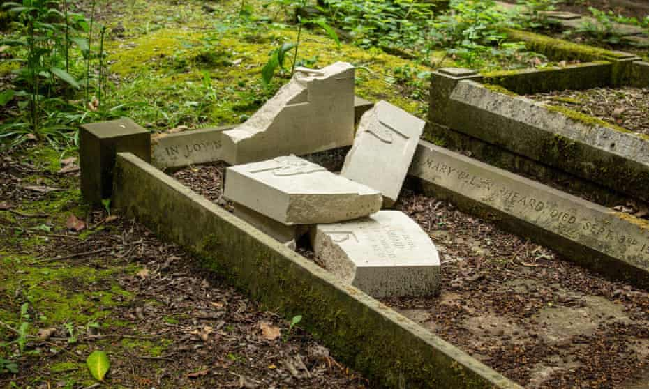 The vandalised headstone of Driver Arthur Sheard at Hirst Wood burial ground near Shipley.